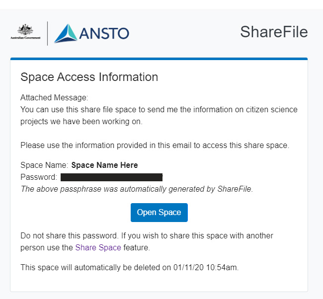 Space access information email